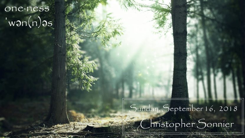 Sunday Sept 16, 2018 One-ness C. Sonnier